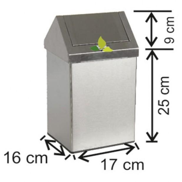 1301 Çatı Kapaklı Paslanmaz Çöp Kovası 6 Lt