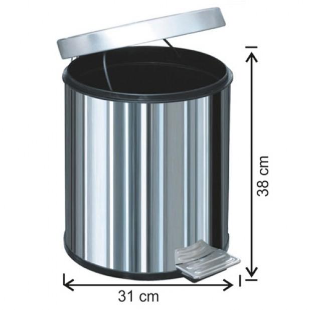 1014 Pedallı Çöp Kovası Plastik İç Kovalı 20 Litre