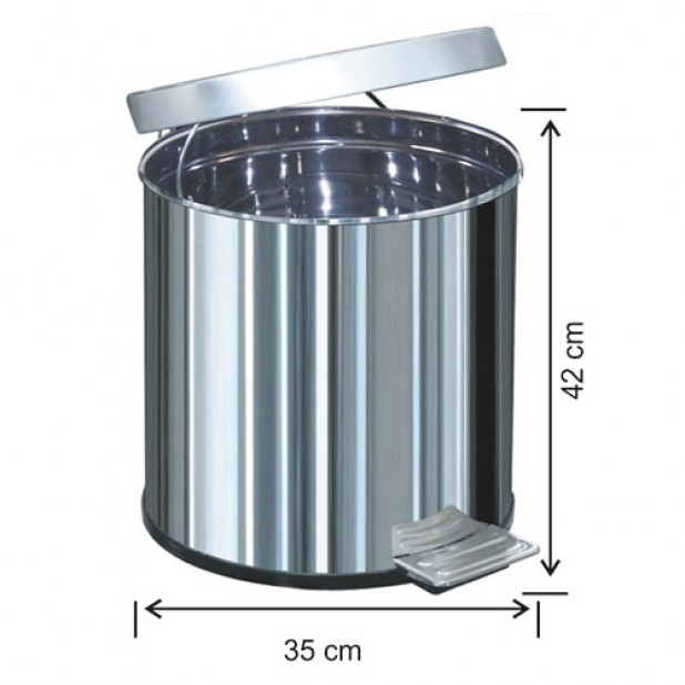 1050 Pedallı Çöp Kovası Metal İç Kovalı 40 Litre