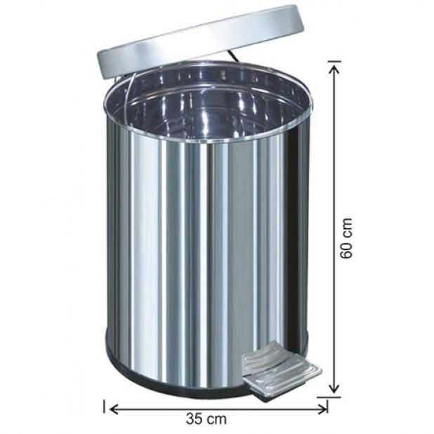 1052 Pedallı Çöp Kovası Metal İç Kovalı 60 Litre